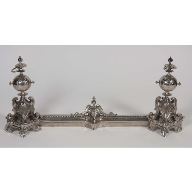 English Antique Chrome Plated Chenet For Sale - Image 3 of 9