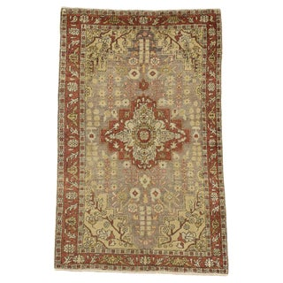 20th Century Rustic Style Turkish Sivas Accent Rug - 4′4″ × 6′10″ For Sale