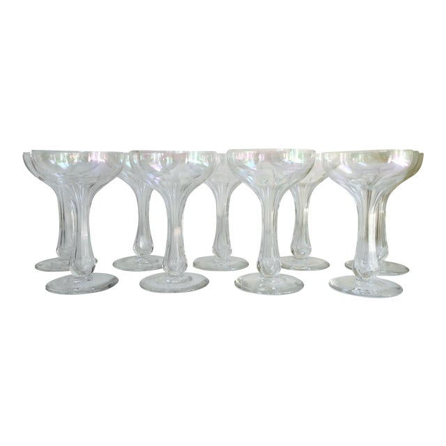 Vintage Iridescent Hollow Champagne Coupe Glasses - Set of 9 - Image 1 of 7