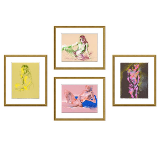 Figures, Set of 4 by David Orrin Smith in Gold Frame, XS Art Print For Sale - Image 11 of 11