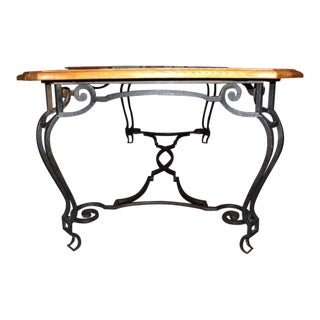 Belgian Iron and Oak Dining Table