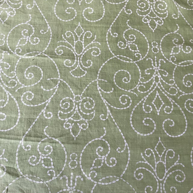"Raoul ""Vizcaya"" Textiles Green Linen Fabric 2 1/3 Y For Sale"