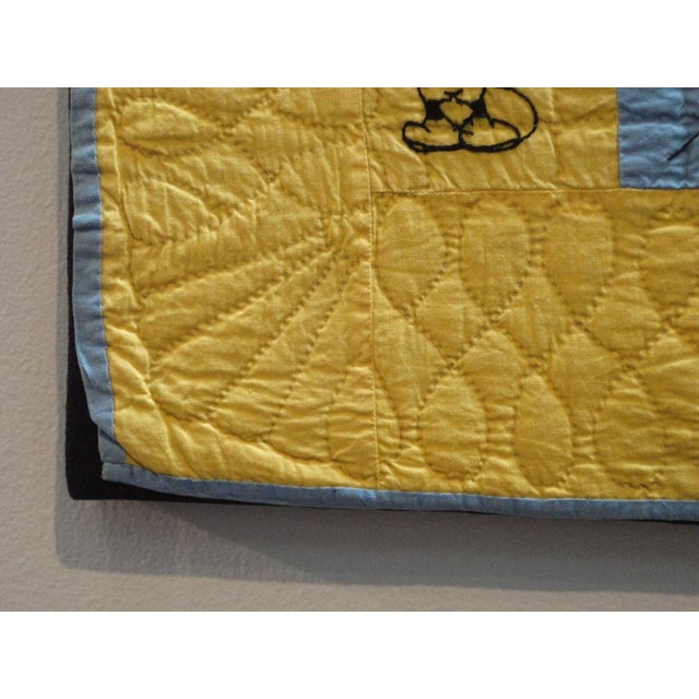 Mounted Folky and Rare Mickey & Minnie Mouse Crib Quilt - Image 7 of 7
