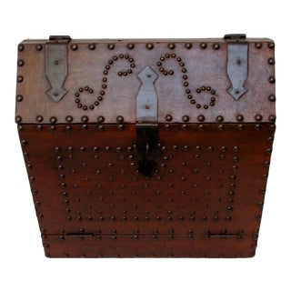 Leather & Nail Head Traveling Bar For Sale