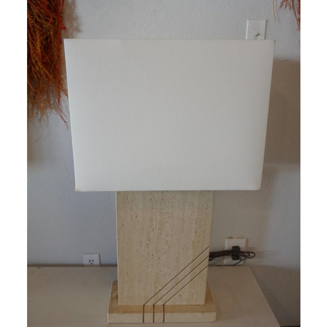Stone 1980s Postmodern Travertine Table Lamps - a Pair For Sale - Image 7 of 8
