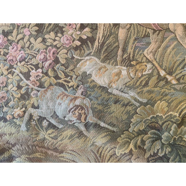 Tapestry of Renaissance Gentleman and Lady on Horseback For Sale - Image 4 of 8
