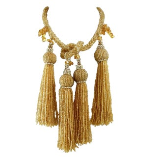 Anka Bugle Beaded Vintage Tassel Necklace For Sale