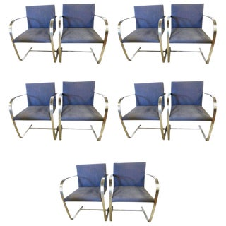 Rare Set of Ten Mies Van Der Rohe Dining Chairs for Knoll For Sale