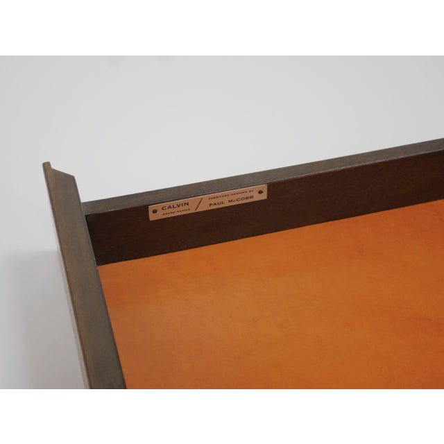 Animal Skin Credenza in Orange leather and Mahogany by Paul McCobb for Calvin For Sale - Image 7 of 11
