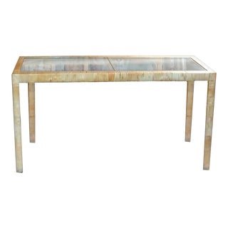 Bielecky Brothers Wicker Papyrus Reed Wrapped Console Table with Inlaid Glass Top For Sale