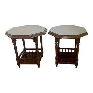 Vintage 2 Tiered Wooden Jacobean Side Tables - a Pair For Sale