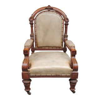 19th C Pair of English Leather Library Chairs For Sale