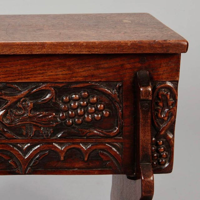 French Hand Carved Oak Stool with Grapes For Sale - Image 5 of 9