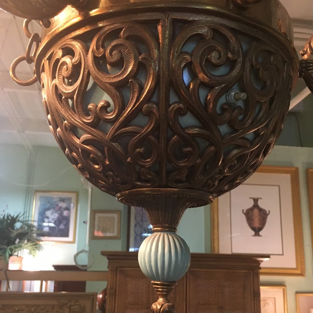 Antique Bronze French Art Deco Chandelier With Lalique Style Globes For Sale - Image 9 of 10