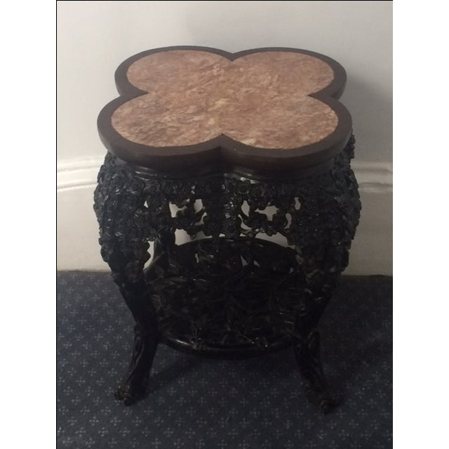 Asian Antique Asian Clover Leaf Marble Top Table For Sale - Image 3 of 9