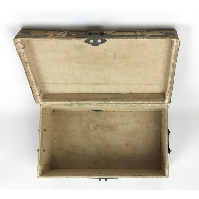 19th C. Asian Hand Painted Hide Box For Sale - Image 11 of 12