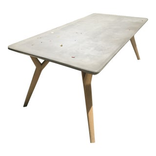 Mid-Century Style Stone Top Outdoor Table