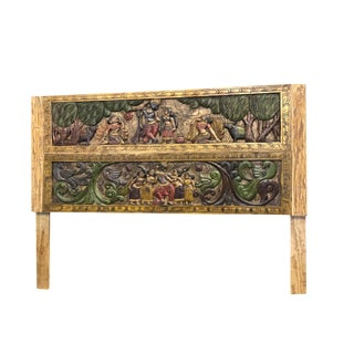 19th Century Indian Krishna Gopis Carved King Headboard For Sale