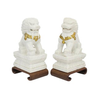 1950s Marble Foo Dogs, Pair For Sale