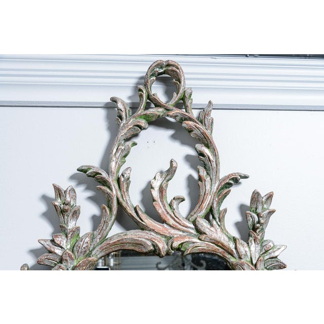 Hollywood Regency Italian Florentine Silver Gilt Wood Mirror For Sale In West Palm - Image 6 of 13