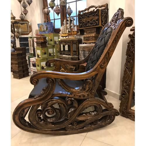 2020s Walnut Carved Rocking Chair For Sale - Image 5 of 6