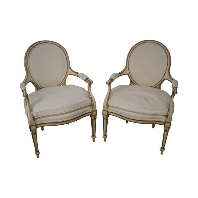 Widdicomb Paint Frame Regency Style Arm Chairs - A Pair - Image 1 of 10