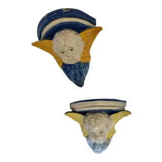 Antique Majolica Ulisse Cantagalli 1890 Italy Angel Corner Wall Bracket Shelf a Pair For Sale