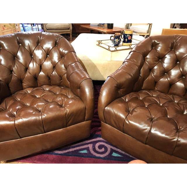 Mid-Century Modern 1970s Mid-Century Modern Tufted Leather Swivel Club Chairs - a Pair For Sale - Image 3 of 11