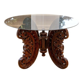 Mid 20th Century Heavily Hand-Carved Accent Table With Oval Tinted Glass Top For Sale