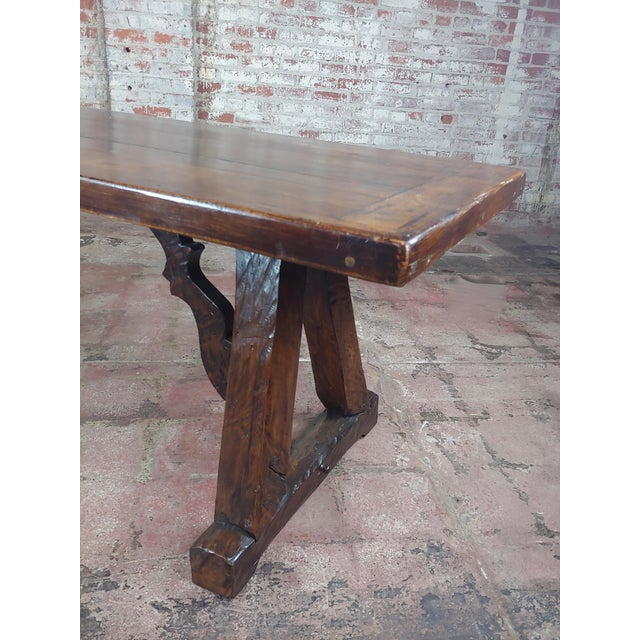 Wood 1960s Spanish Colonial Gorgeous Walnut Dining Table For Sale - Image 7 of 10