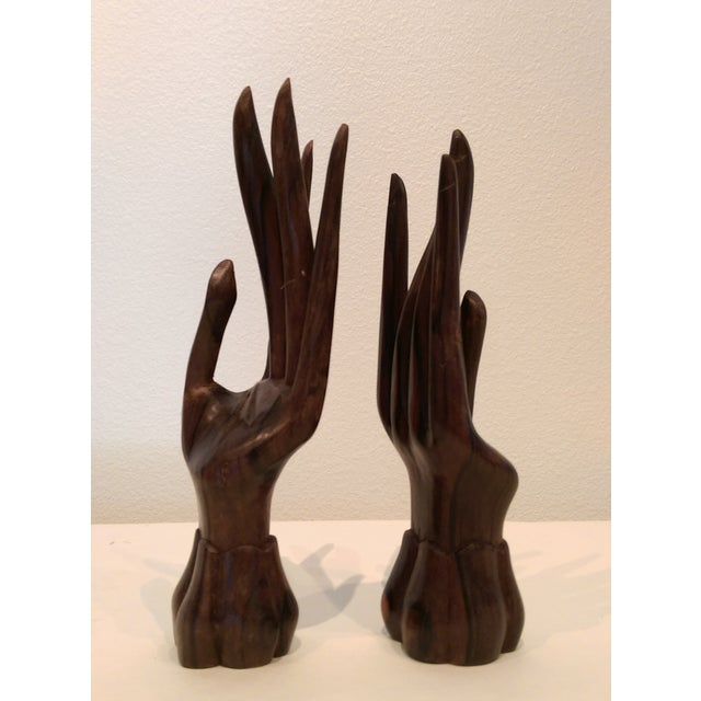 Carved Wooden Hand Sculptures - A Pair - Image 3 of 7