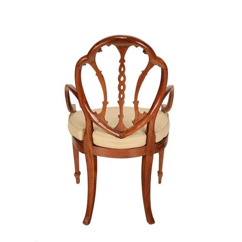 Hand Painted Satinwood Arm Chairs - Pair - Image 2 of 2