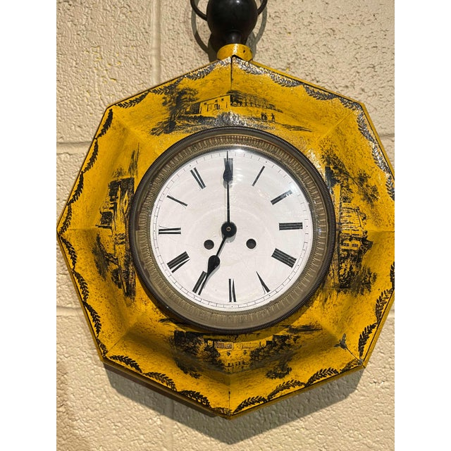 19th Century, French Napoleon III Painted Tole Wall Clock For Sale In Dallas - Image 6 of 12