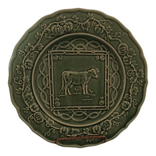 Bordallo Green Cow Plate For Sale
