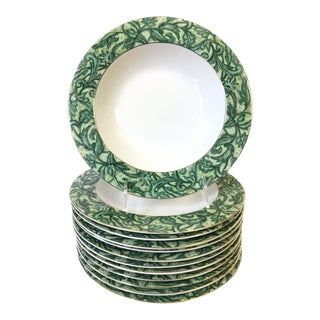 American Atelier A Cappella Green Soup Bowls - Set of 12 For Sale