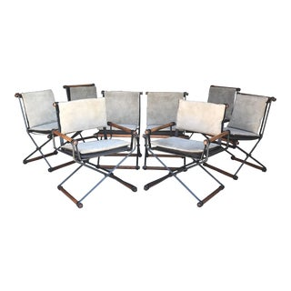 Rare Set of 8 Cleo Baldon Terra Oak Wrought Iron Dining Chairs For Sale