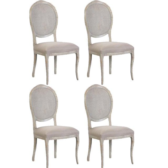 Abrella Oval Back Beige & White Dining Chairs - Set of 4 - Image 1 of 4