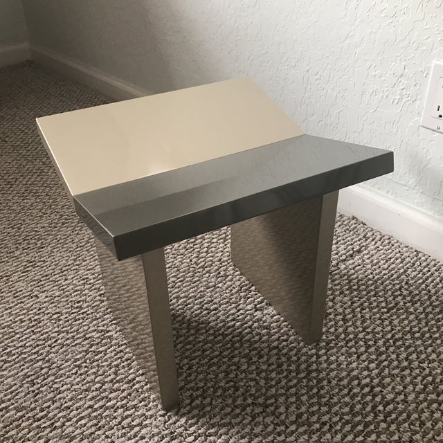 Contemporary Gray Lacquered Wooden Stool For Sale - Image 4 of 8