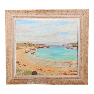1950s Vintage M. H. Gauquelin French Breton Seascape Oil on Canvas Painting For Sale