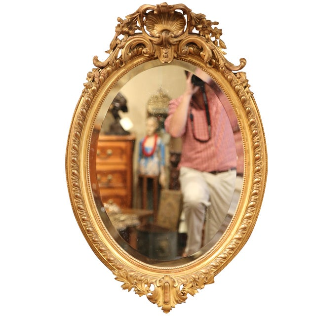 19th Century French Louis XV Oval Gold Leaf Beveled Mirror with Carved Shell For Sale