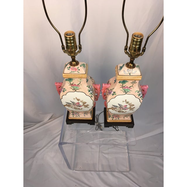Pink With Floral Motif Chinoiserie Vintage Lamps - a Pair For Sale In Charleston - Image 6 of 9