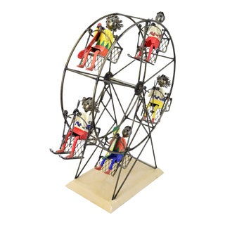 Mexican Ferris Wheel Ski Lift Metal Sculpture with Skiers/Snowboarders by Felguerez For Sale