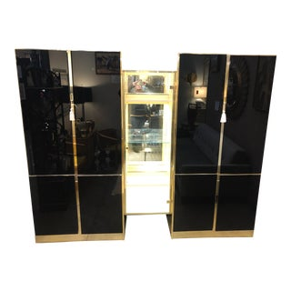 1970's Ello Black Mirrored Glass and Brass Cabinet For Sale
