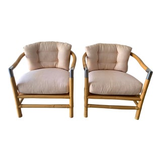 Bamboo and Chrome Lounge Chairs- A Pair For Sale