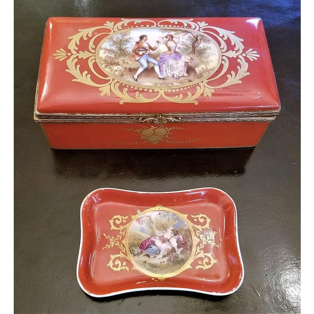 19th C. Sevres Porcelain Trinket Box With Ring Tray - Set of 2 For Sale - Image 13 of 13