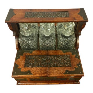 Important 19th Century English Oak and Crystal Tantalus With Game Compendium For Sale