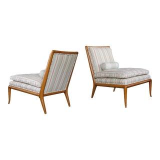 Mid-Century T.H. Robsjohn-Gibbings for Widdicomb Model No. Wmb Walnut Slipper Chairs - a Pair For Sale