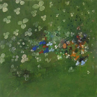 """Urso Contemporary Abstract Green Painting """"Clover Over"""" For Sale"""