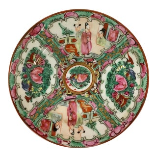 Vintage Rose Medallion Hand Painted Plate For Sale