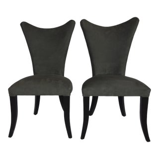 Modern Black Upholstered Dining Chairs - Pair For Sale